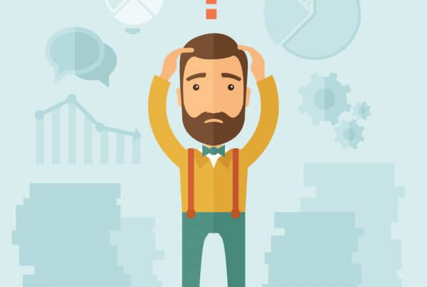 The man with a beard with lots of plans is confused and put hands on the head. The concept of confusion. Vector flat design illustration.